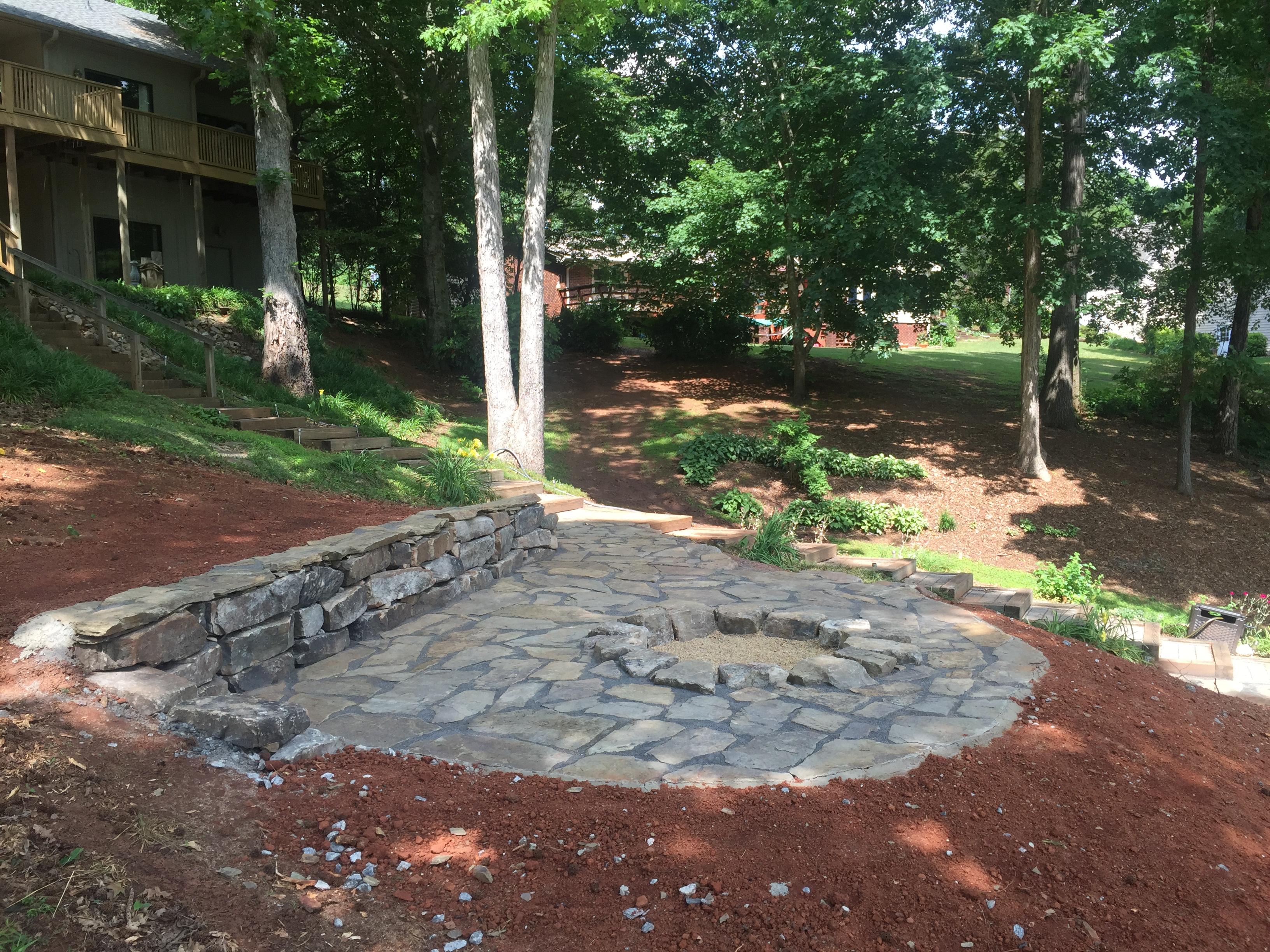 flagstone patio u0026 fire pit installed for seneca customer