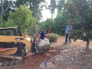 Salem boulders/sod install