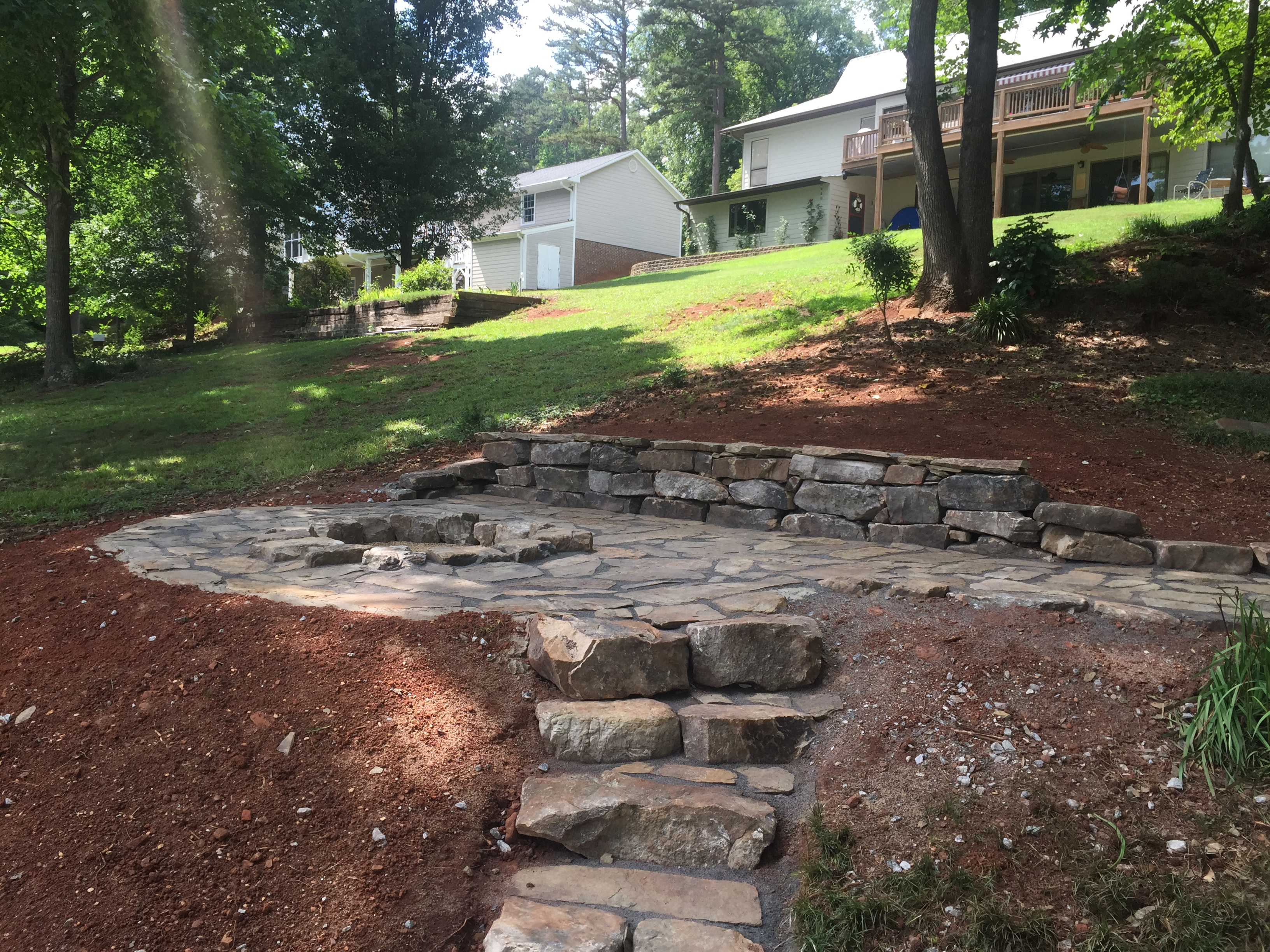 Flagstone Patio With Grass Throughout Flagstone Patio Flagstone Walkway Seneca Stairs Sc Patio Fire Pit Installed For Seneca Customer